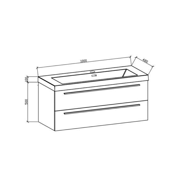 Mika1000 Basin + Cabinet